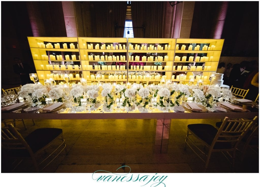 candle wall behind sweetheart table, cipriani wall street weddings, NY wedding photos