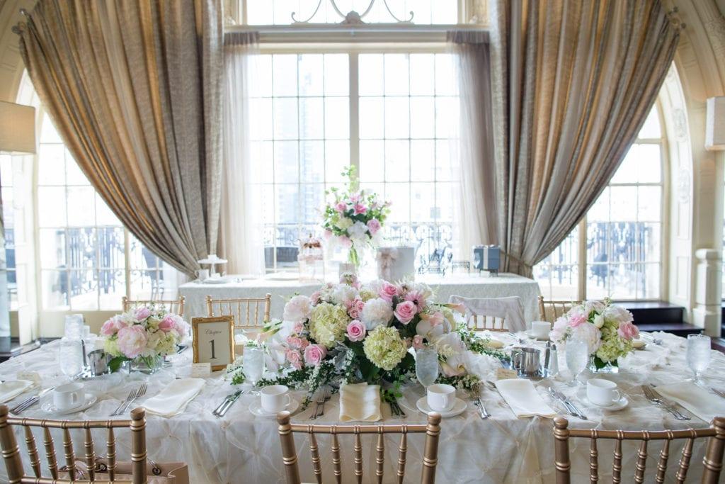 bridal shower table setting, bridal shower florals, clarks flowers