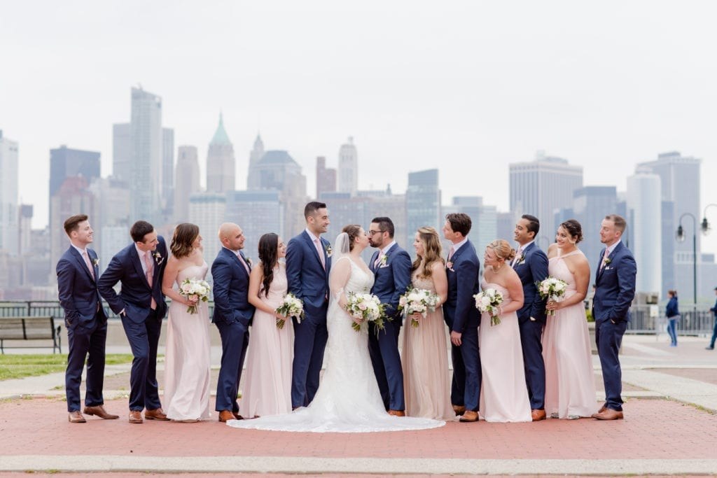 bridal party, liberty state park wedding photos