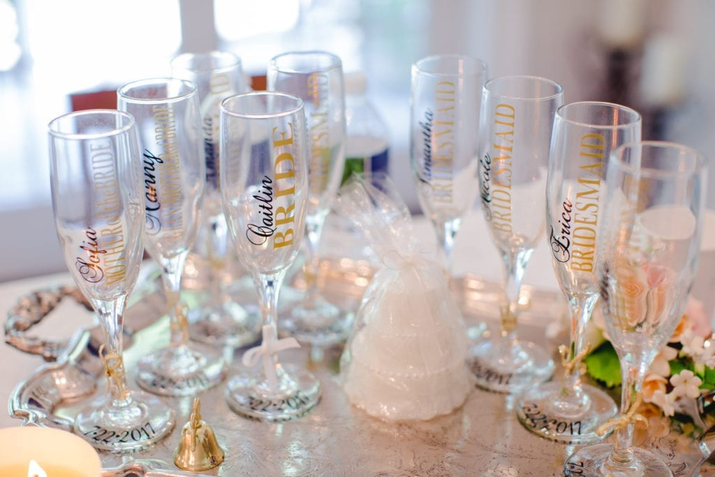 bridal party gifts, customized bridal party champagne flutes