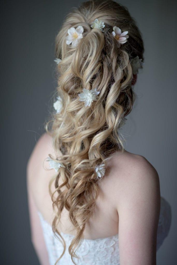 wedding updo, boho wedding hair