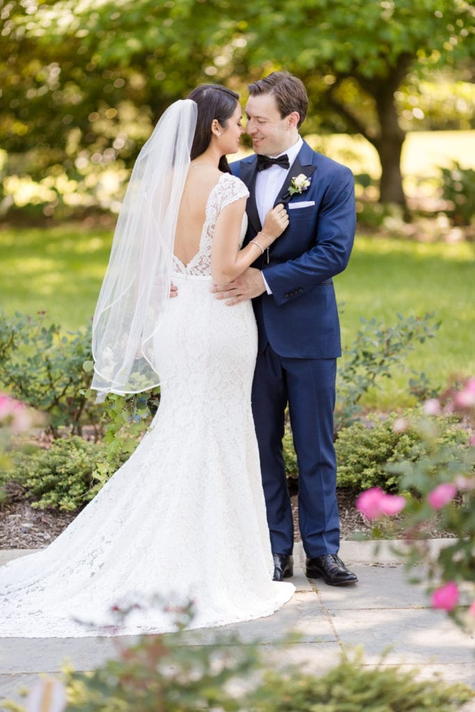 Mikaella Bridal gown, elegant garden wedding