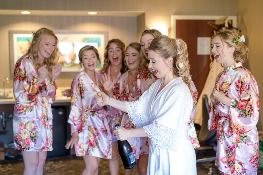 bridal party prep photography, bridal champagne