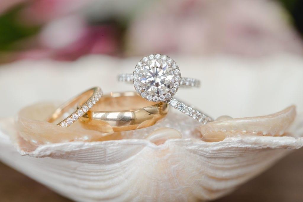 classic pink nj wedding, engagement rings