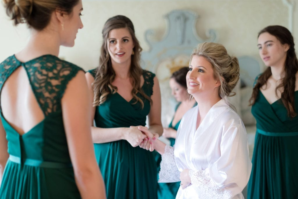bride and bridesmaids photography, emerald green lace bridesmaids dress
