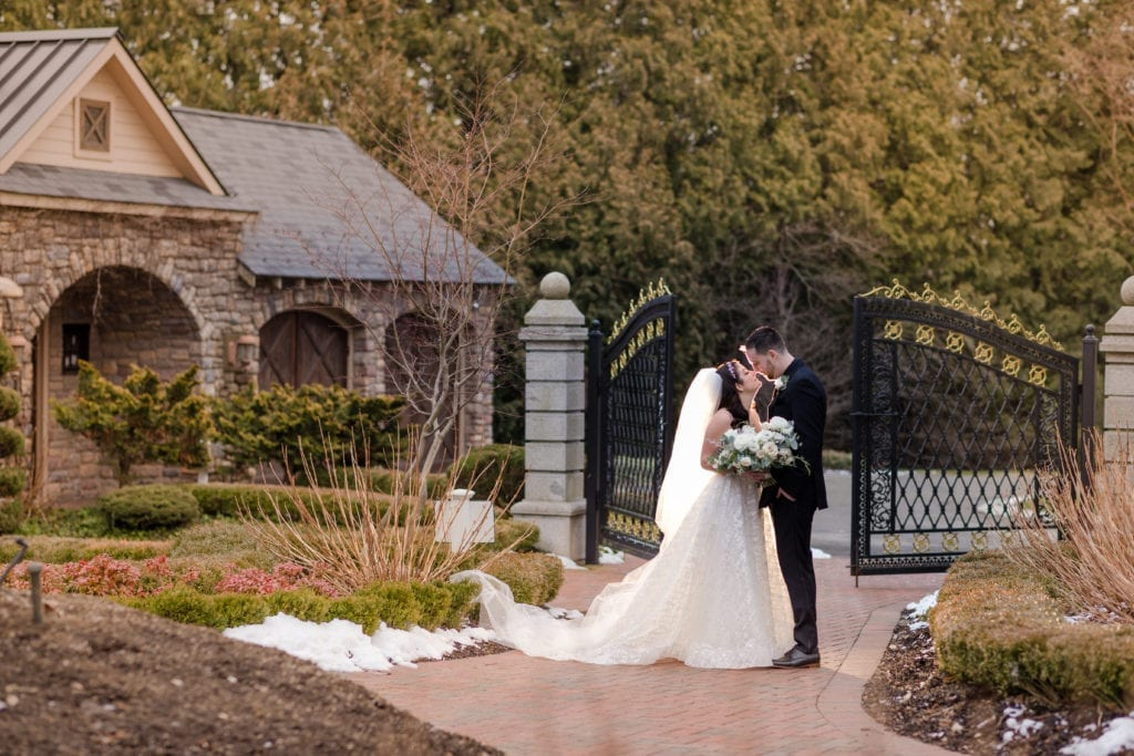 bride and groom embracing outside of ashford estate