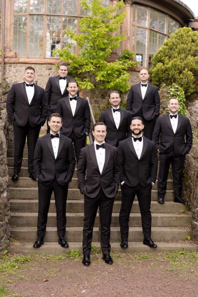 groom and groomsmen photography, black tuxedos
