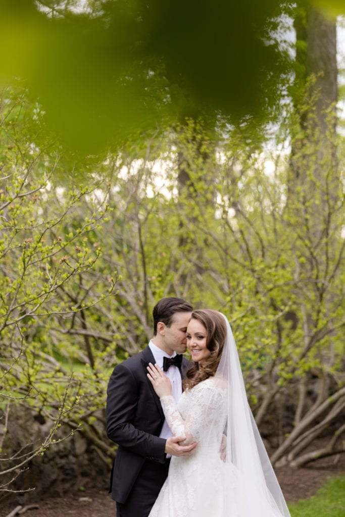 bride and groom in the woods, greenery photography