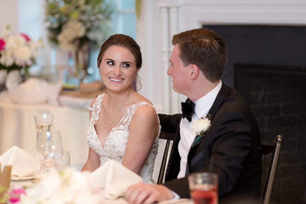 bride and grooms sweetheart table