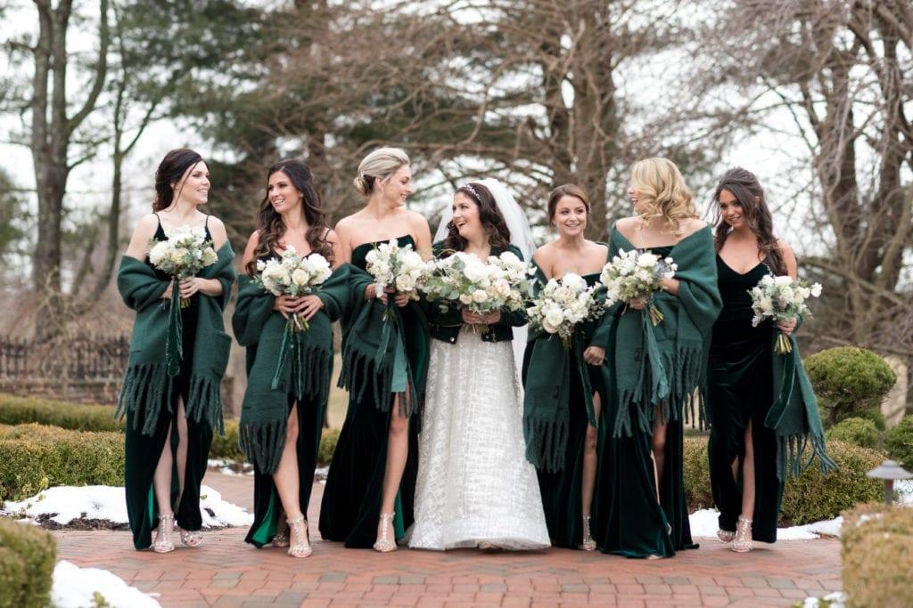 emerald green velvet bridesmaids dresses, shawls for bridesmaids for winter wedding