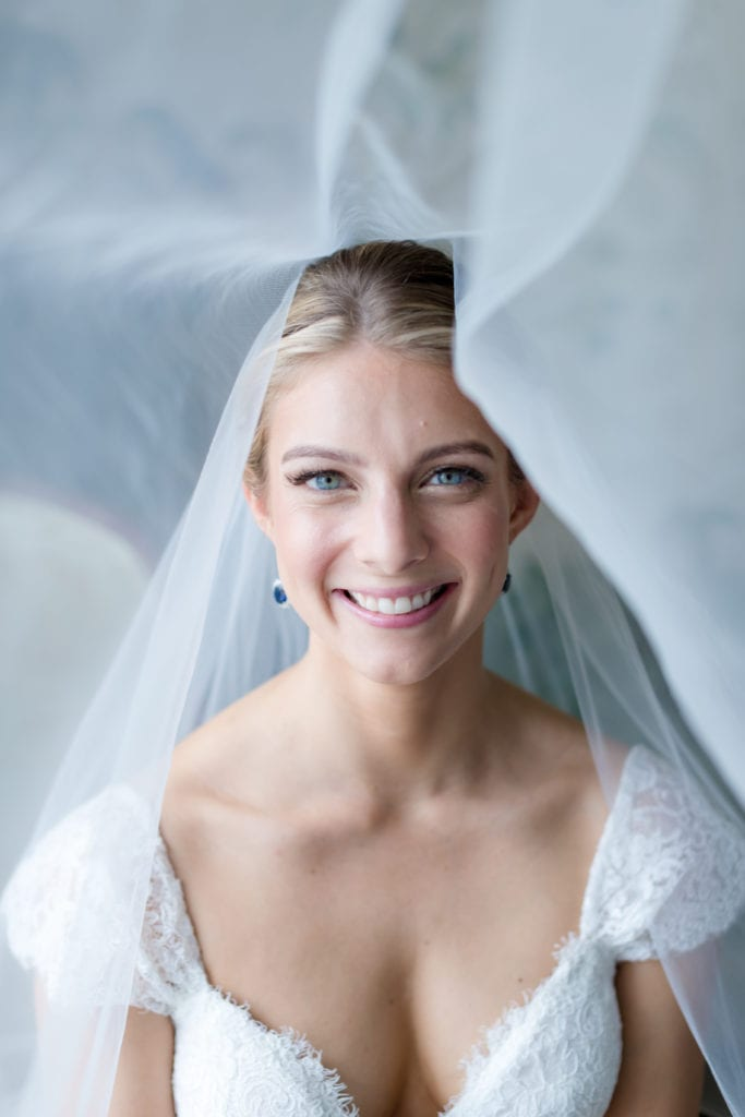 bride with long flowing veil