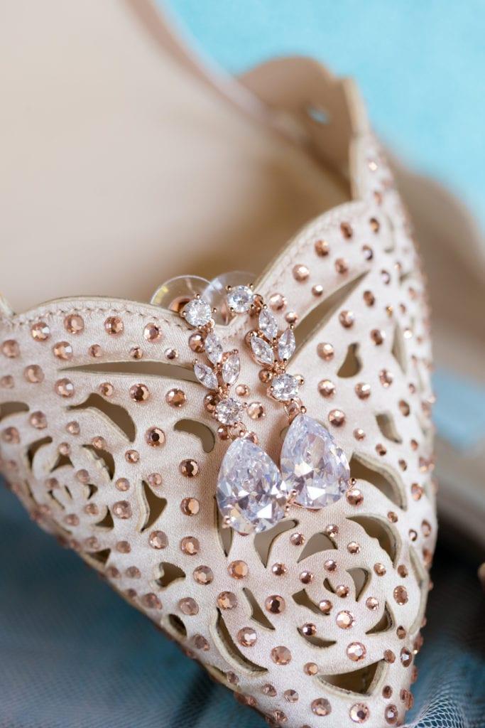 Betsy Johnson embellished wedding shoes, dangly diamond earrings