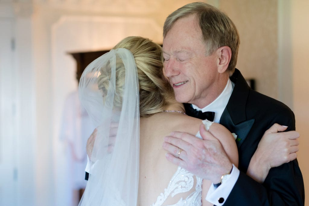 bride embracing her father