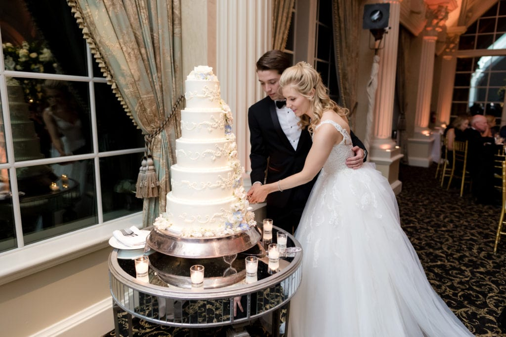 bride and groom cutting The bake works cake
