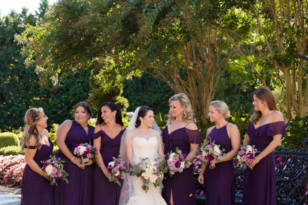 Purple Dessy group bridesmaids dresses