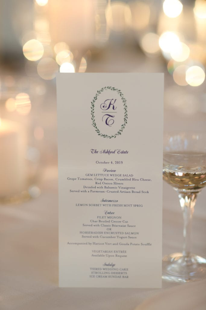 The Ashford Estate wedding, Crane & Co wedding menu