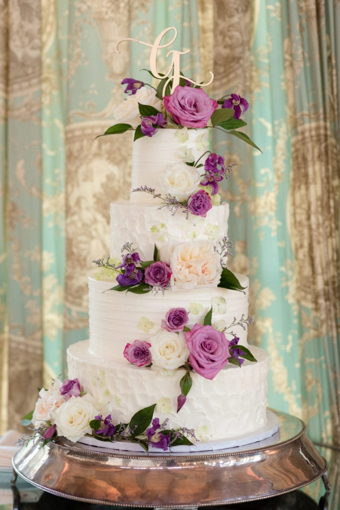 5 tiered floral wedding cake, the bake works wedding cake